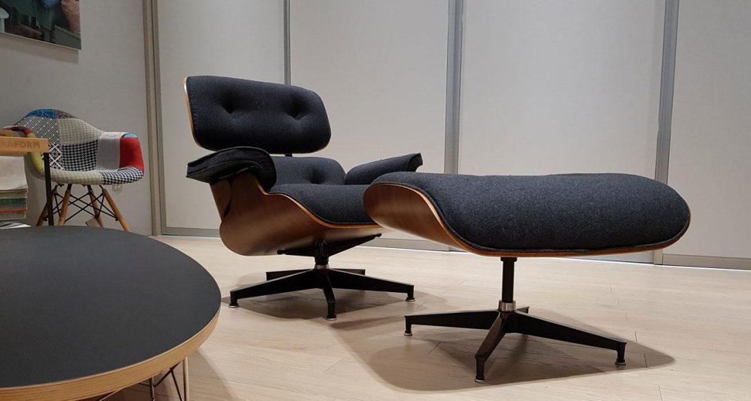 studioHR, Eames Lounge Chair REPLIKA sivi kašmir, orah