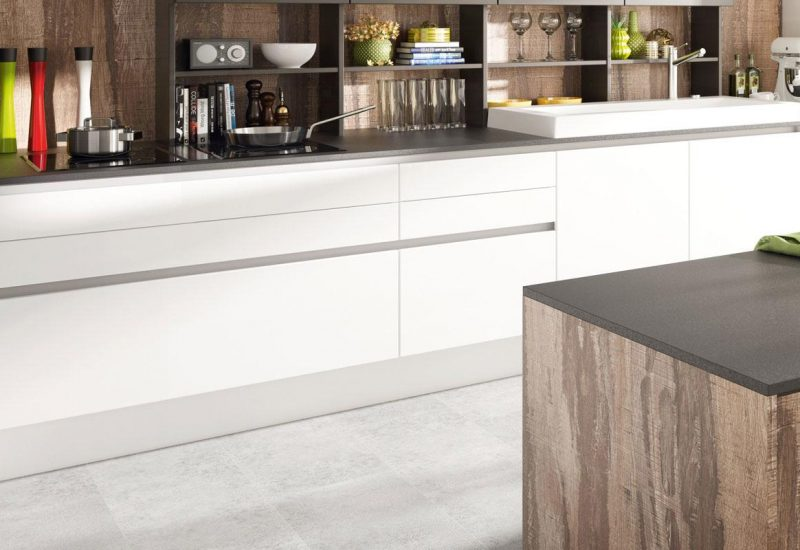 DanKuchen Silbermond kuhinja bijele boje visokog sjaja donji elementi