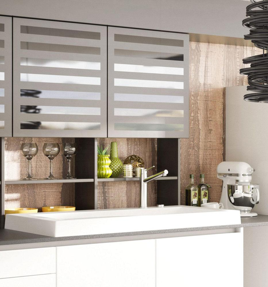 DanKuchen Silbermond kuhinja bijele boje visokog sjaja viseći elementi 01